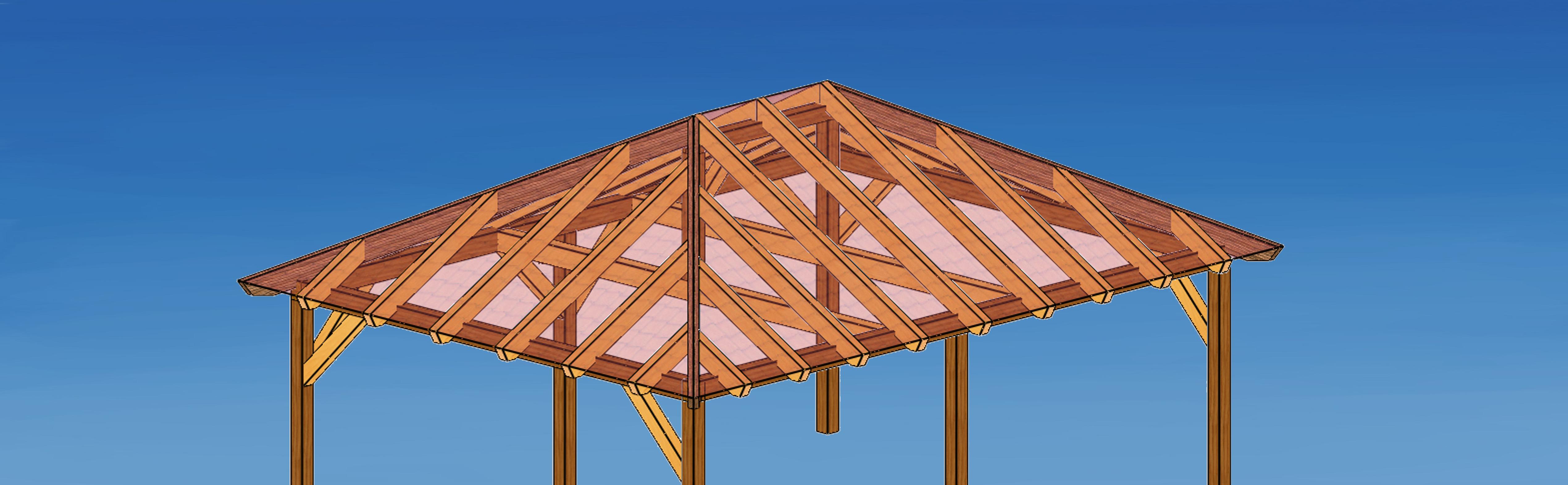Carport-Zeichnung - Holzbausätze individuell und zum selber aufbauen